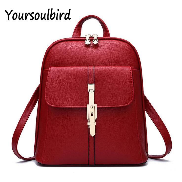 2016 HOT Sale New Ladies PU Backpacks Solid Fashion School Bag For Teenage Girls High Quality