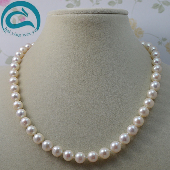 где купить Unique Pearls jewellery Store White Color Natural Freshwater Pearl Necklace AA 8-9MM Natural Pearl Necklace Woman Fine Jewelry по лучшей цене