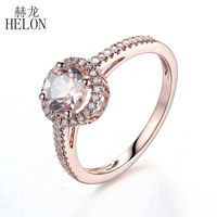 Solid 14K Rose Gold 6mm Round Shape 0 73ct Morganite Pave 0 2 Natural Halo Engagement