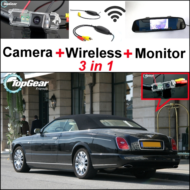 3 in1 Special Wifi Camera + Wireless Receiver + Mirror Monitor Easy Back Up Parking System For Bentley Azure 2007~Onwork wireless pager system 433 92mhz wireless restaurant table buzzer with monitor and watch receiver 3 display 42 call button