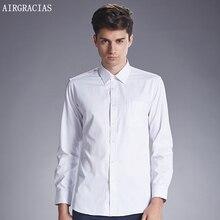 Airgracias 2017 Мужская мода Повседневные рубашки с длинным рукавом Slim Fit отложным воротником сплошной Цвет хлопок Размеры M-4XL Camisa Masculina