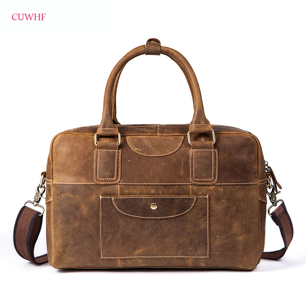 CUWHF Crazy horse skin retro Men's genuine leather briefcase Big real leather laptop tote bag Cow leather business bag