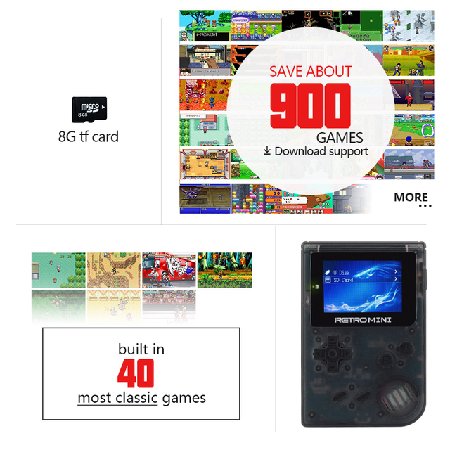 Data Frog Retro Game Console 32 Bit Portable Mini Handheld Game Players Built-in 940 For GBA Classic Games Gift Toy For Kids