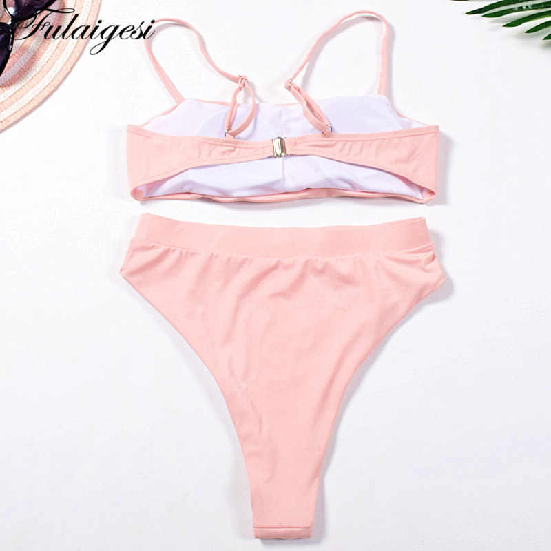 be4405ecfd6 ... Fulaigesi Retro High waist cut bikini set hot 2019 new women solid bandeau  swimsuit swimming bathing ...