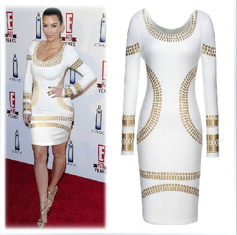 Hot Sale2015 Summer Women Casual Gilding Slim Club White dresses evening Bodycon Pencil Mini Dress Plus Size S- XXL free ship - Online Store 430544 store