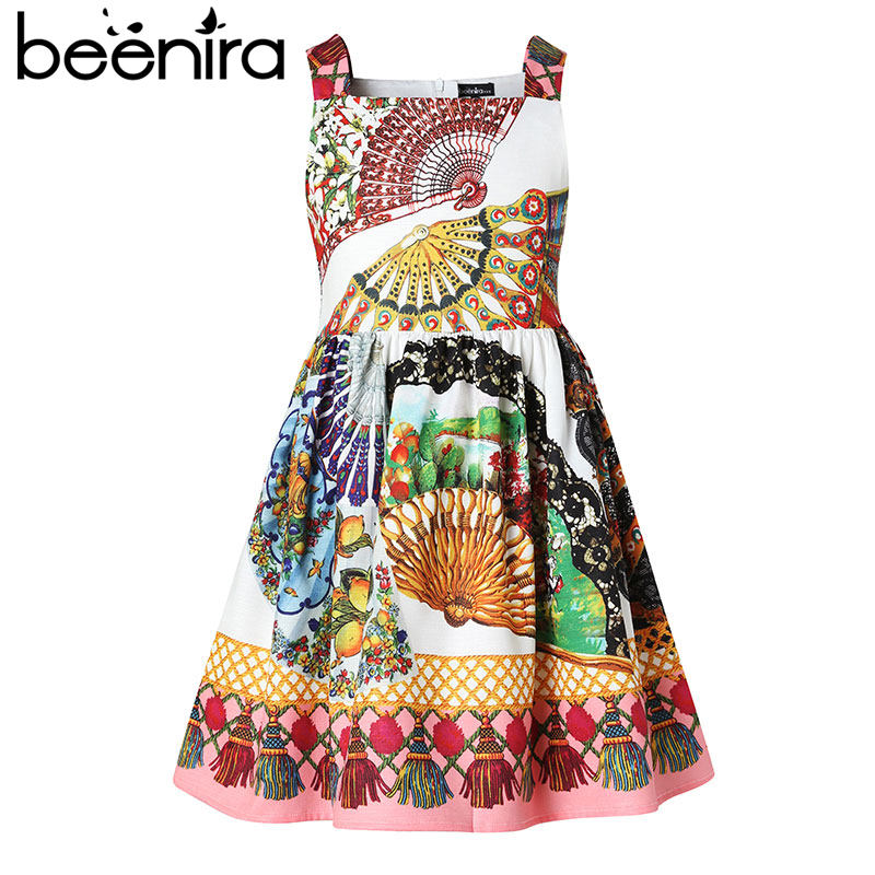 Beenira Girls Dresses 2018 New Summer Fashion Style Children Sleeveless Printed Pattern European And American Style Kids Dresse 1pc transparent clear stamps diy silicone seals scrapbooking phpto album crad making craft stamp sheet decoration