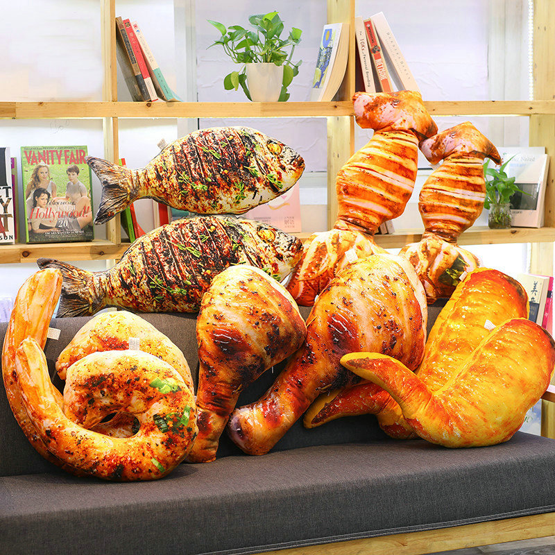 Plush Simulation Food Grilled Fish /chicken Leg Stuffed Throw Pillow & Roasted Wing/squid Soft BBQ Doll Kids Creative Baking Toy