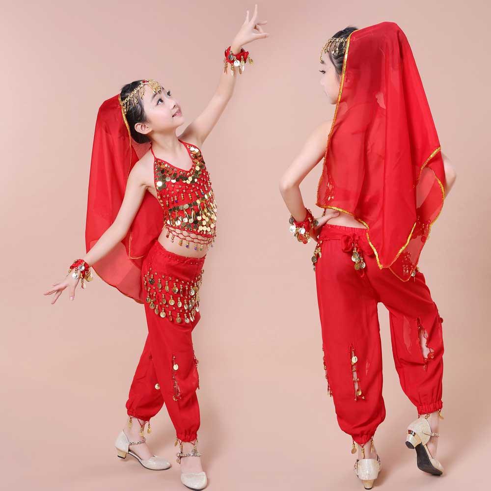 2017 nya gratis frakt hetsäljande magdansföreställning Bollywood indisk barndräkt indisk dansdräkter för barn