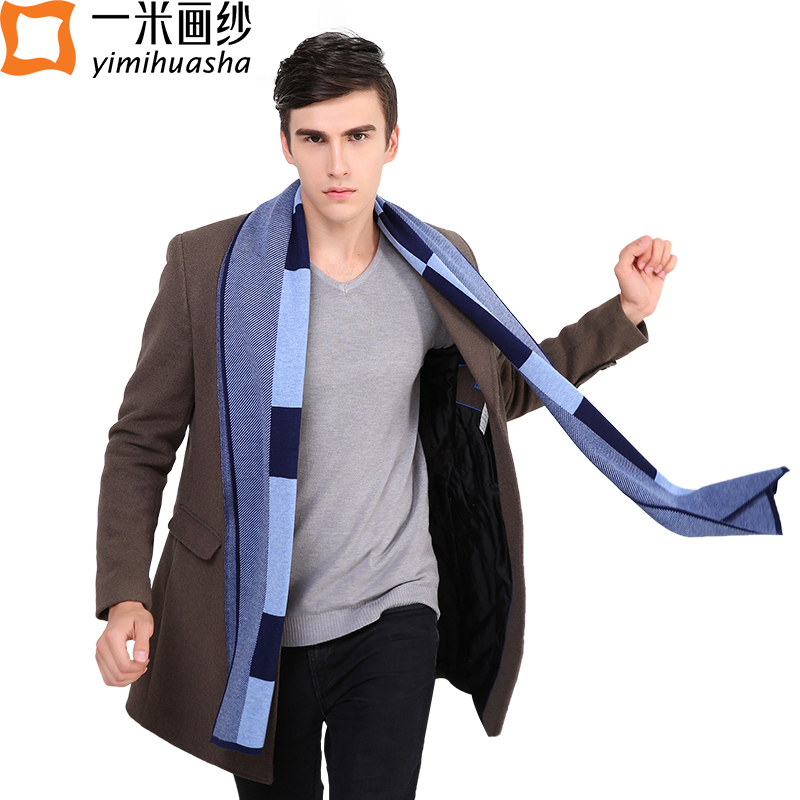 2016 winter warm gentle men scarves fashionable knitted cozy wool horse print Shawl wrap long size echarpes hommes multi-style