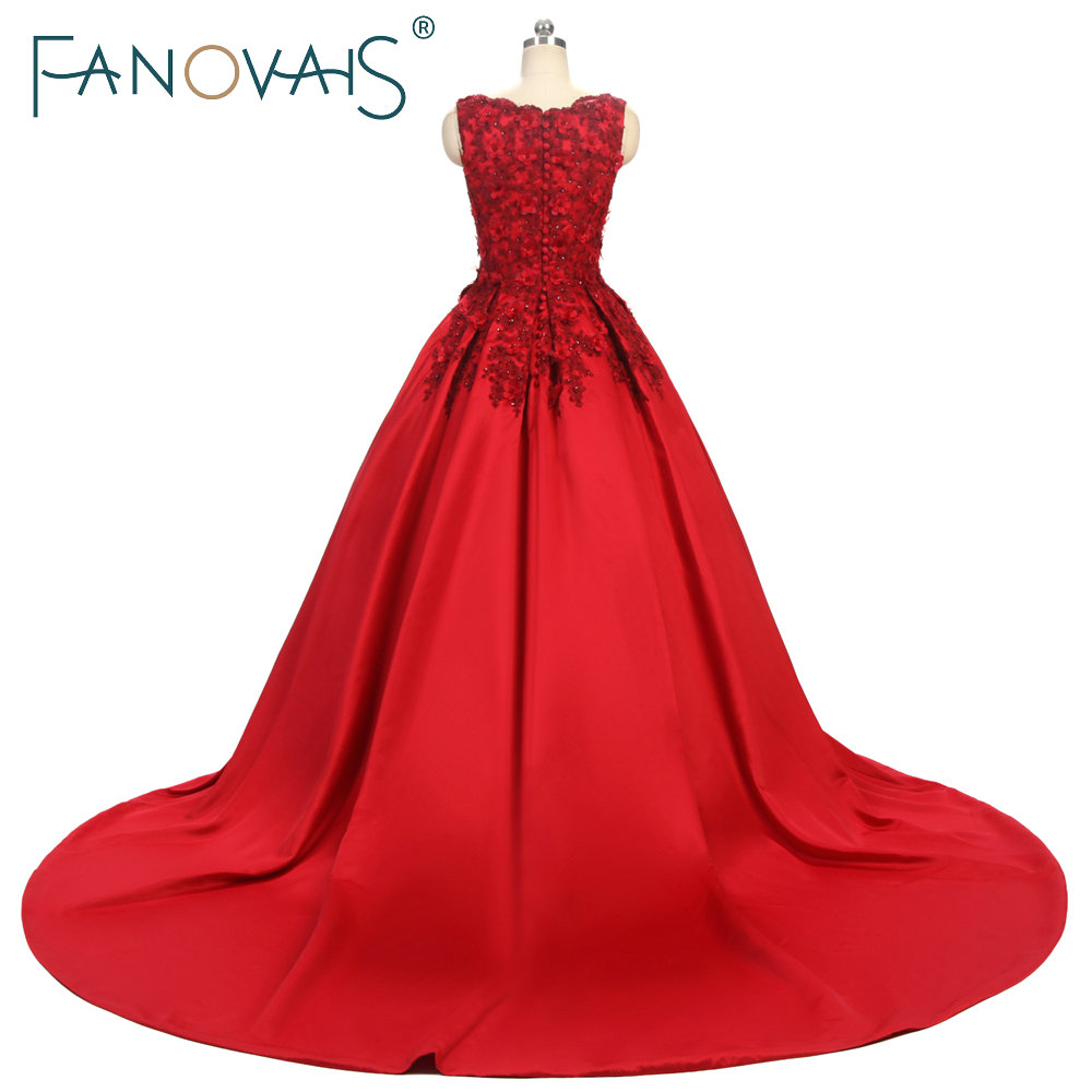 Suknie balowe proste burgundowe Koronkowe suknie wieczorowe 3D kwiat - Suknie specjalne okazje - Zdjęcie 3