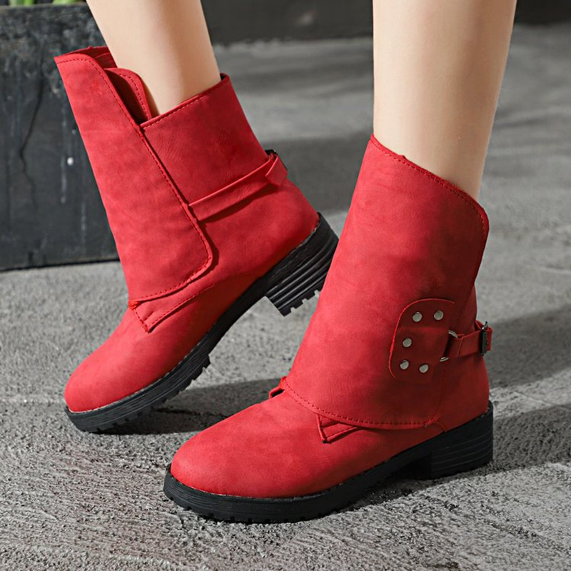 COOTELILI Buckle Shoes Woman PU Leather Ankle Boots For Women 4cm Heels Motorcycle Boots Ladies Autumn Winter Shoes 41 42 43  (1)