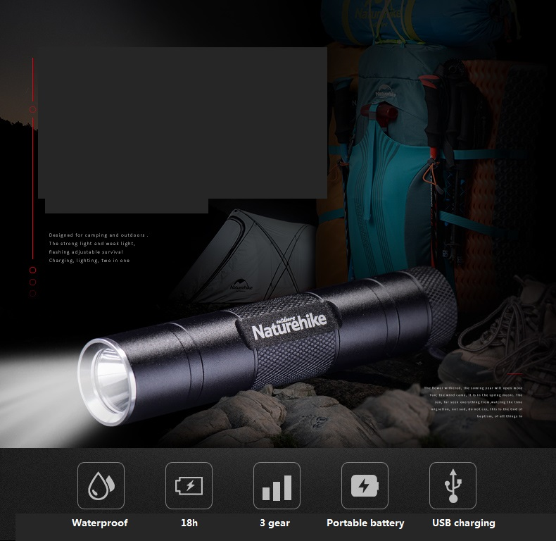 NatureHike USB Rechargeable portable waterproof mini strong light Led Flashlight Torch