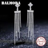 BALMORA New 925 Sterling Silver Long Tassel Zircon Drop Earrings for Women Lover Korean Earrings Fashion Jewelry Brincos JWAE657