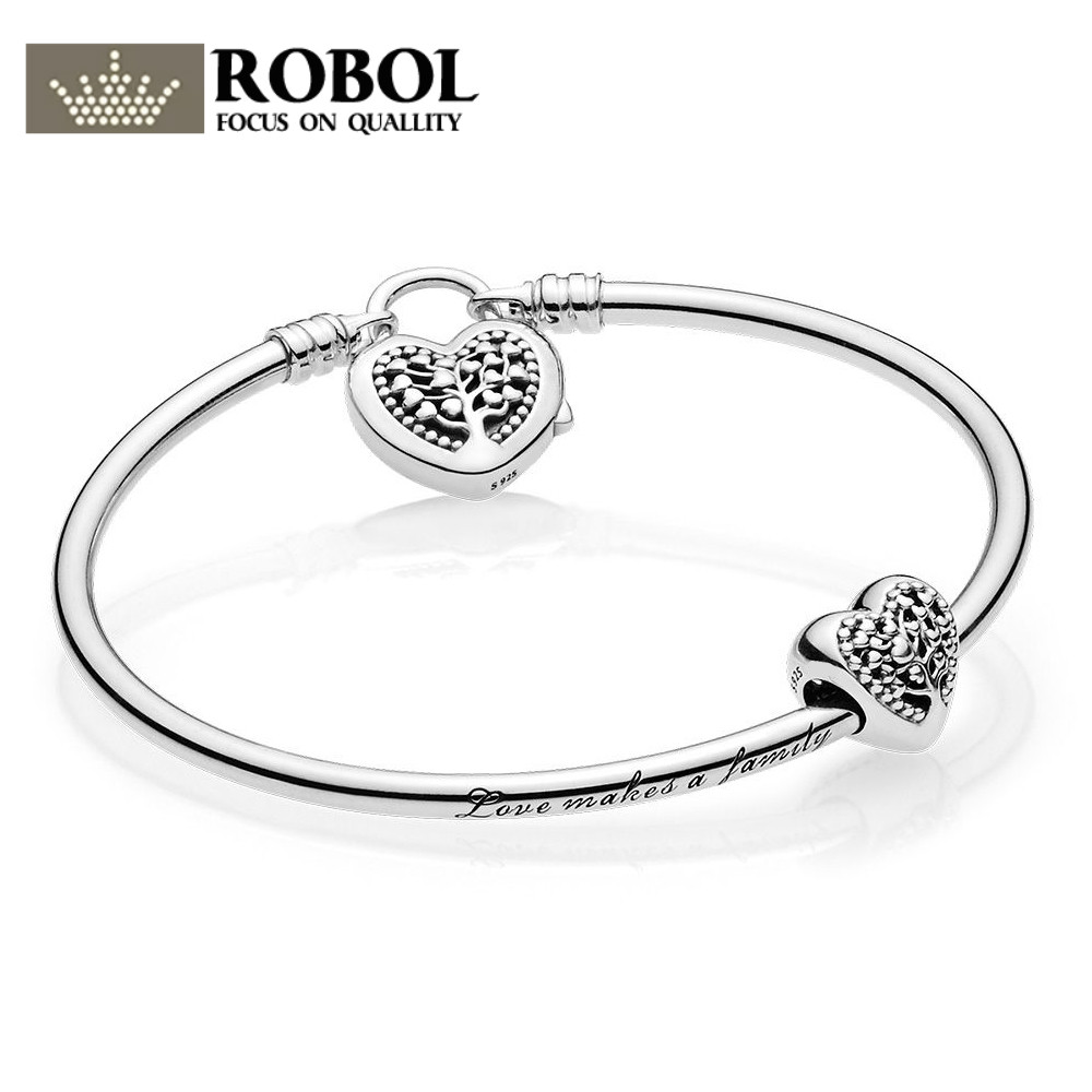 EDELL 100% 925 sterling silver 1:1 Genuine Charm Life Tree Love Signature Bracelet Set Fit DIY Gift Women Original Jewelry цена