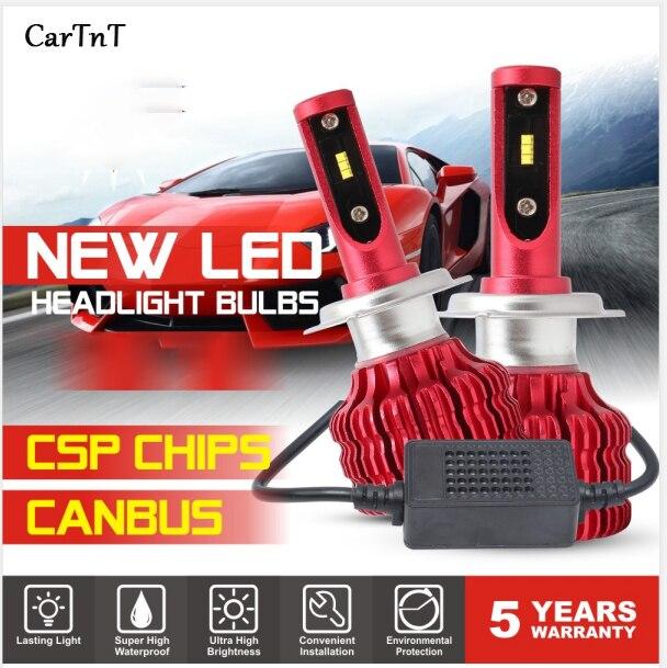 CarTnT 2Pcs LED H7 H4 H11 H1 H3 9005 9006 HB4 HB3 5202 LED Bulb Canbus Car Headlight Hi-Lo 100W 12000LM 6500K 24V Led Fog Lamp