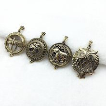 4pcs Vintage Bronze Mixed Owl Bird Tree Elephent Dragonfly Copper Locket Essential Oil Diffuser Trendy Pendant Necklace Jewelry