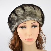 Wholesale French Beret Hat Female Real Mink Fur Hat Fashion Hat Women Winter Warm Patterns Whole