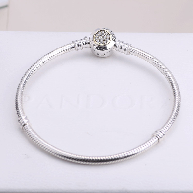 Genuine 925 Sterling Silver Clasp Snake Bracelet Chain DIY Jewelry Findings With European Charm Beads