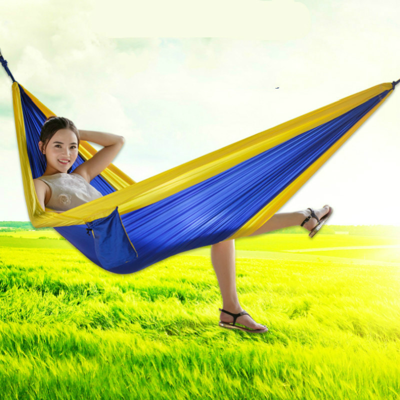 Outdoor Hammock Individual / Double Person Leisure Indoor Parachute Cloth Swing Tourist Climbing Portable Collapsible Hammock