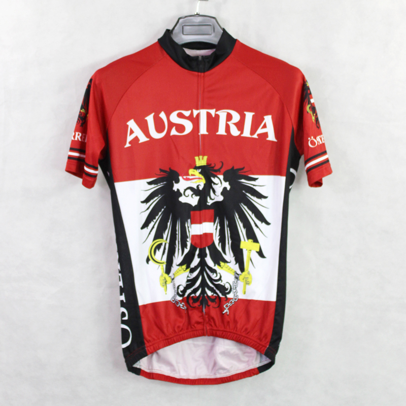 b2d150392 New Mens Cycling Jersey Comfortable Bike Bicycle Shirt Austria flag logo  Alien SportsWear Red cyclingclothing Size 2XS 5XL-in Cycling Jerseys from  Sports ...