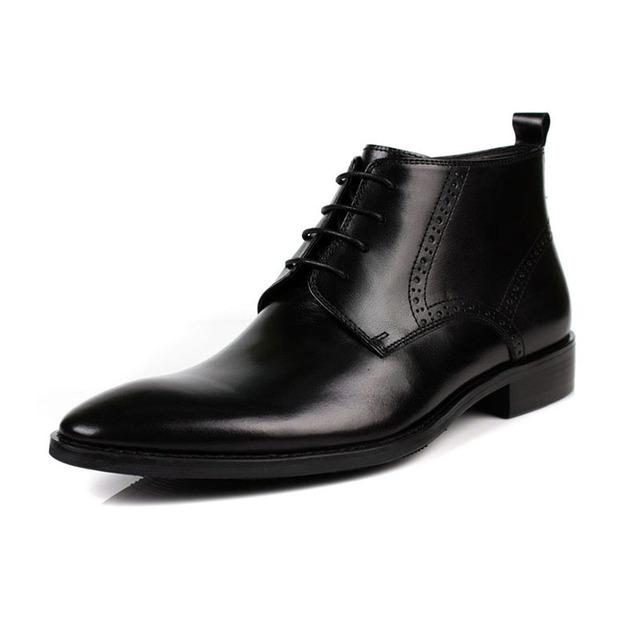 Marrón/Negro EU38-44 Nuevo 2017 Primavera/Otoño hombres Botas de Cuero Genuino Durable Impermeable de Los Hombres Con Cordones Brogue Cargadores Del Vestido