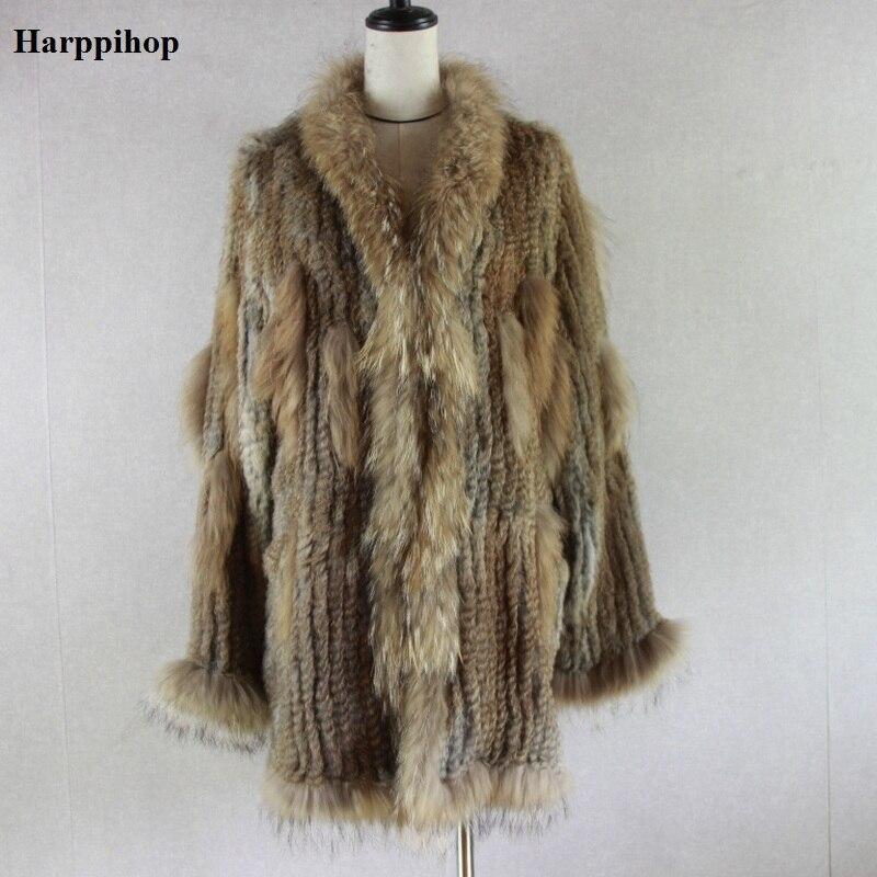 2018 Espagne Russie USA Canada populaire Femmes tricoté réel véritable réel de fourrure de lapin manteau pardessus vestes vêtement raton laveur col