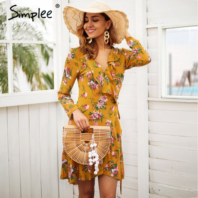 Ruffle print wrap dress women Sexy v neck mini dress long sleeve summer dress Robo femme streetwear beach vestidos 2018