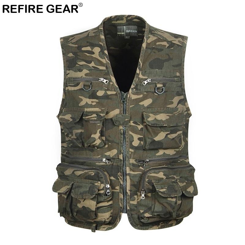 Refire Gear Summer Fishing Camouflage Men Vest Multi Pockets Outdoor Sleeveless Waistcoat Jackets Camo Hiking Camping Vests