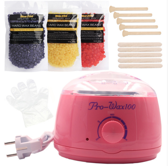 Pink Depilatory Wax Heater With Hot Hard Hair Removal Wax Beans Kit No Paper Painless Remove Bikini Face Whole Body Hair df wallace girl with curious hair paper