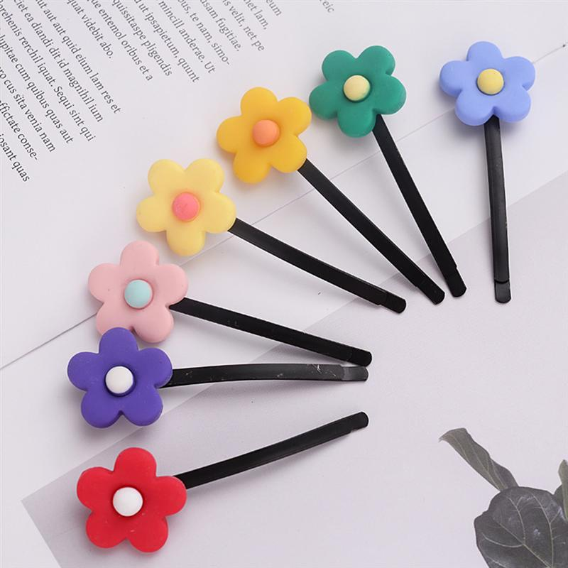 7pcs Fashion Lovely Hair Clip Colorful Flower Side Clip Headwear Hair Pins Headdress Hair Accessories For Children Girls Women in Clips from Hair Extensions Wigs