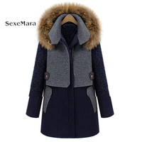 2017 Winter New Style Women S Wear Wool Overcoat Long Paragraph Thickening Hit Color Wool Coat
