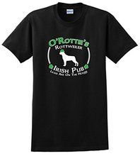 Print Tee Shirt Sleeve Men's O-Neck Funny Short Sleeve St Patricks Day Dog Rottweiler Irish Pub Sign T Shirt