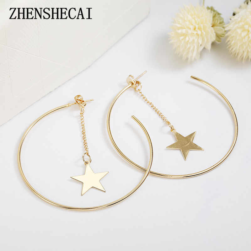 New Fashion Ladies metal Earrings Stars tassel pendant geometric Round Earrings gold color Popular jewelry Accessories Wholesale