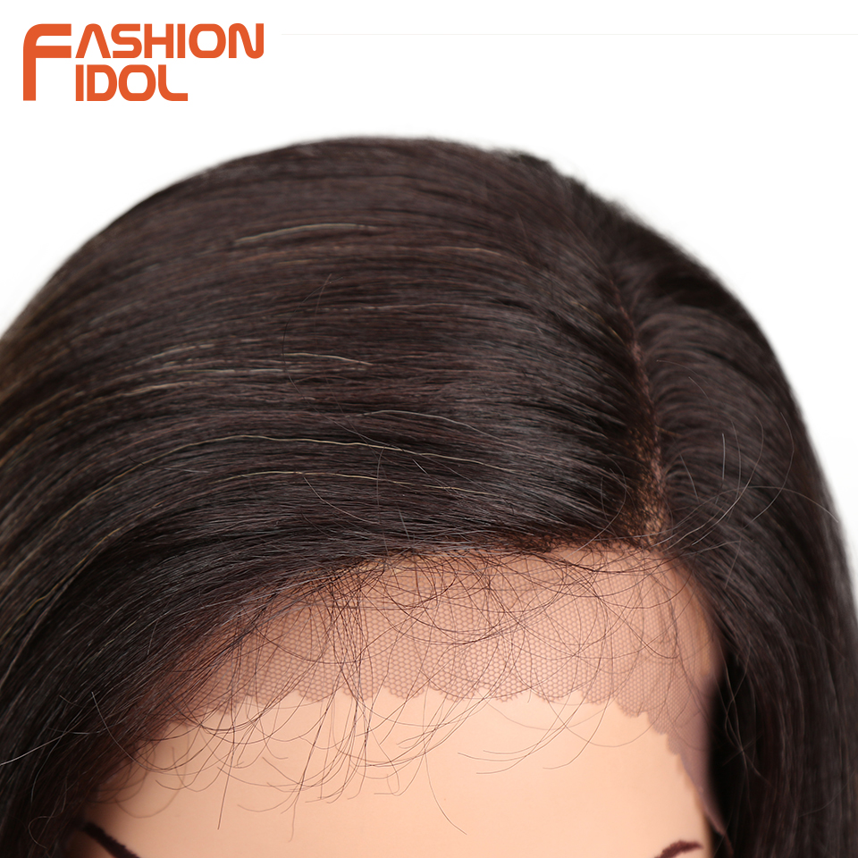 FASHION IDOL Glueless 28inch lace Front Wig Long Ombre Blonde Body Wave Heat Resistant Fiber Hair Synthetic Wigs For Black Women