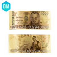 10pcs/lot Thailand Gold Banknote 1000 Baht Banknote In 24K Gold Plated Currency Banknotes Paper Money for Collection