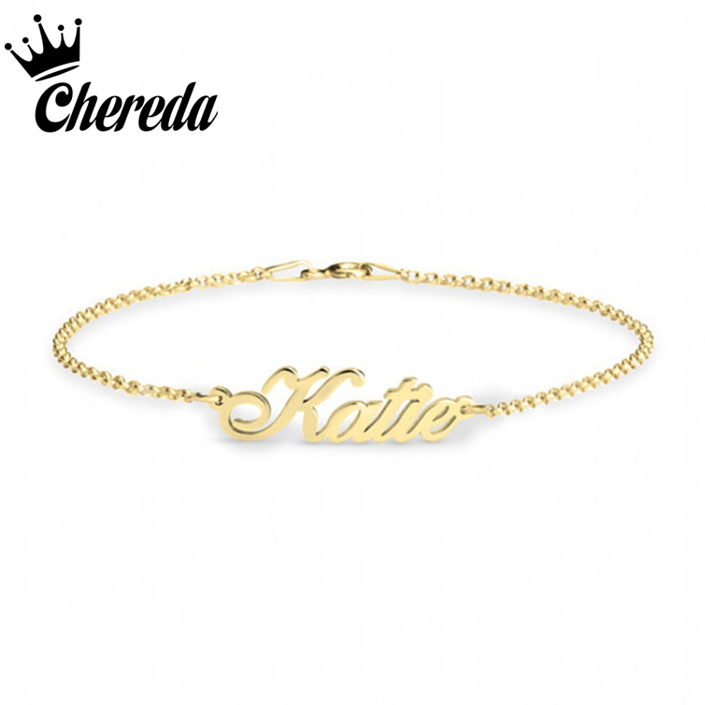 Chereda Personalized Custom Name Bracelet Handwriting Love Message Women Jewelry Charms Bangle Party Birthday Accessories Gift