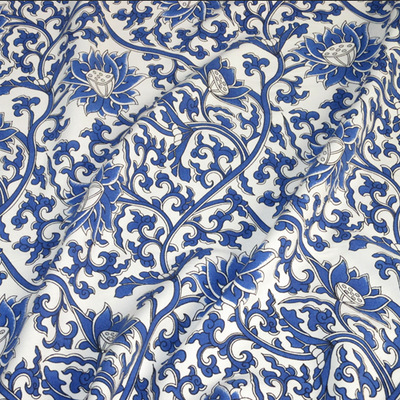 Classic Blue And White Flowers Rayon Fabric Textiles Chinese Style Unique Chinese Fabric Patterns