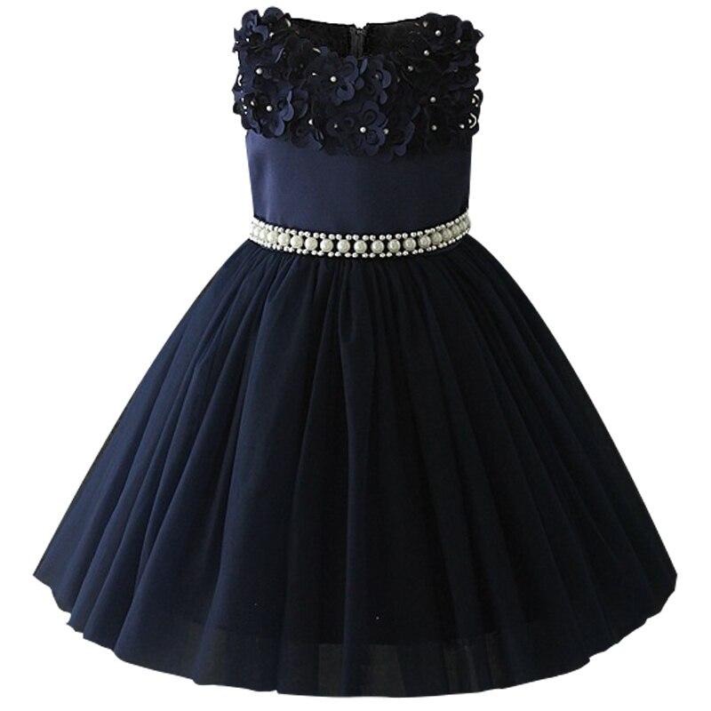 Атласное платье для первого причастия для маленьких детей; блестящее бальное платье; Пышное Платье; Платья с цветочным узором для девочек на свадьбу; платье для банкета сзади - Цвет: navy blue