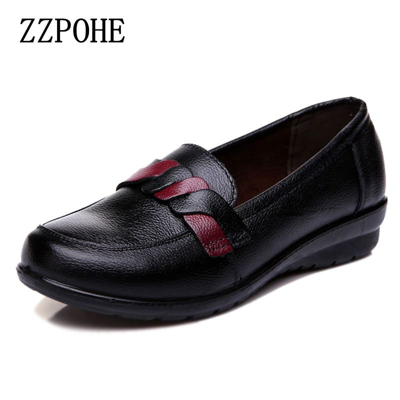 все цены на ZZPOHE 2017 spring autumn new leather fashion ladies shoes soft bottom non-slip mother Plus Size shoes women flat Driving Shoes