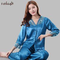 Summer Pijamas Women Silk Pajamas V Neck Womens Pyjamas Homewear Sexy Pijama Nightwear Sleepwear Sets Plus