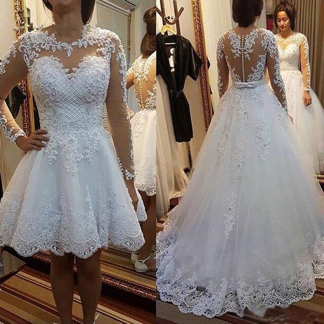 Vestido דה Noiva 2021 קצר שמלת או 2 em 1 חתונת שמלה ארוך שרוולים תחרה אשליה כלה שמלות