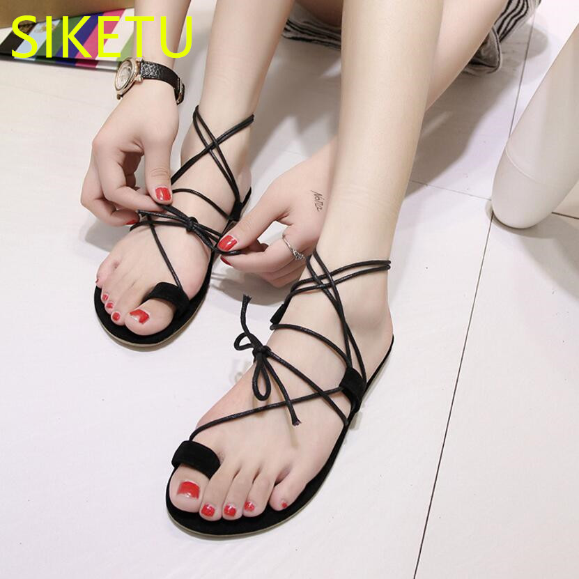 SIKETU Free shipping Summer sandals Fashion casual shoes sex women shoes flip flop Flat shoes Flats l090 NEW Beach Rome free shipping fashion 2018 new summer women shoes casual sandals genuine leather flats sandals beach slippers soft comfortable