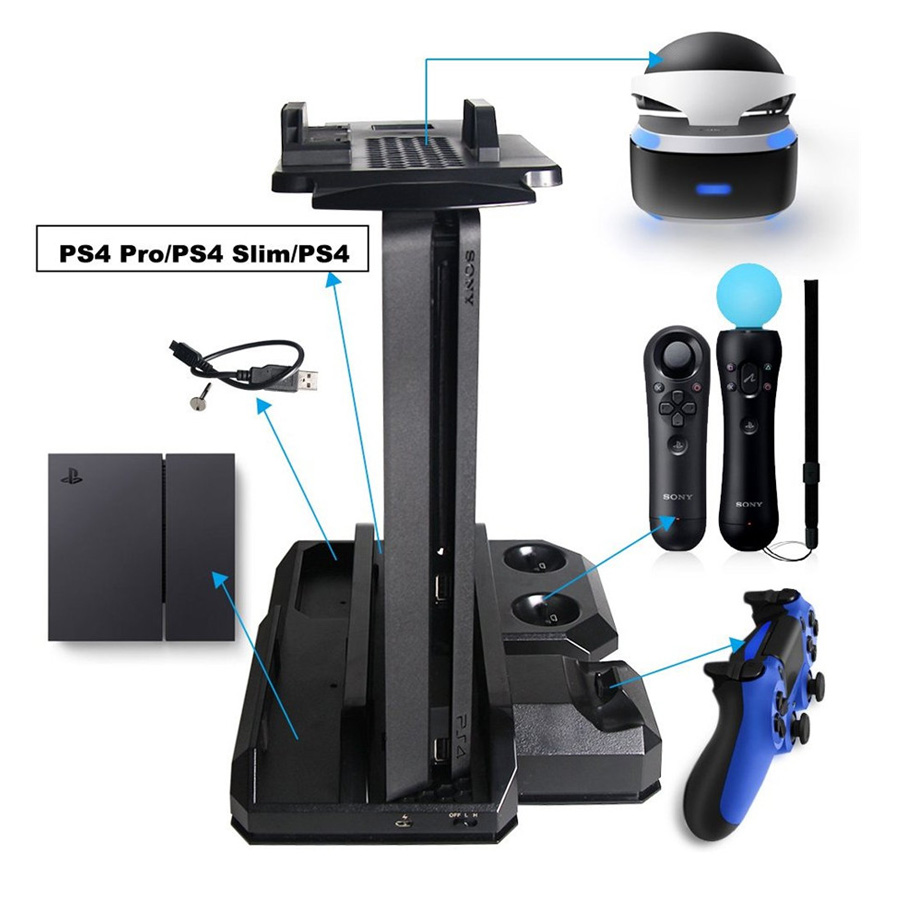 Multifunctional Vertical Console Cooling Stand PS4 Pro PS4 Slim PS4 PS Move PS4 Controller Charger Station