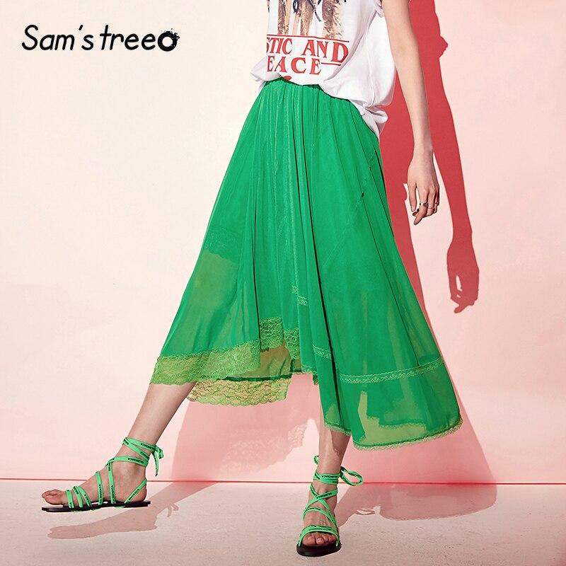 Samstree 緑のレースのパッチワーク女性のスカート 2019 夏ミッドウエストスカート女性のカジュアルなオフィスの女性メッシュプリーツスカート  グループ上の レディース衣服 からの スカート の中 3