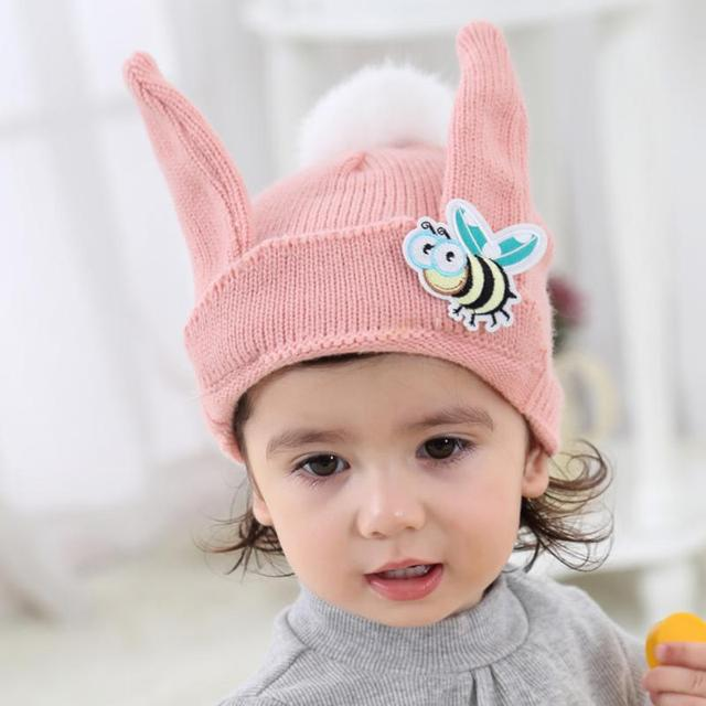 4c400c62ce1 Baby Hats Knitted Woolen Bee Rabbit-ears Knitted Cap With Ears Winter Warm  Newborn Caps
