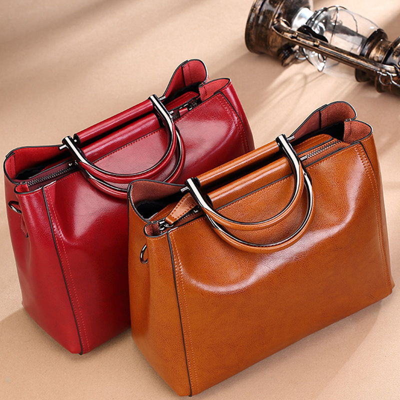 2018 New Fashion Genuine Leather Tote Bags Shoulder Diagonal Commuter Bag Simple Large-capacity commuter