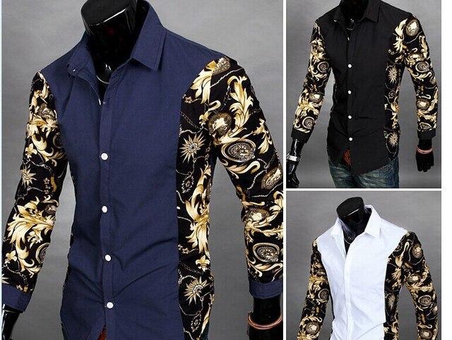 hot sale Men fashion leisure Cool print patchwork long sleeve ...