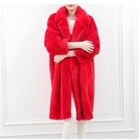 Для женщин Шуба Длинные отложной воротник, тонкий полным ходом толстый теплый красный из искусственного меха норки пальто XHSD 382