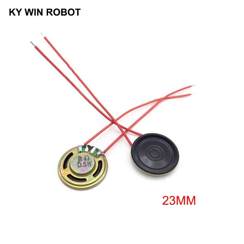 2pcs/lot New Ultra-thin Speaker 8 Ohms 0.5 Watt 0.5W 8R Speaker Diameter 23MM 2.3CM Thickness 5MM With Wire