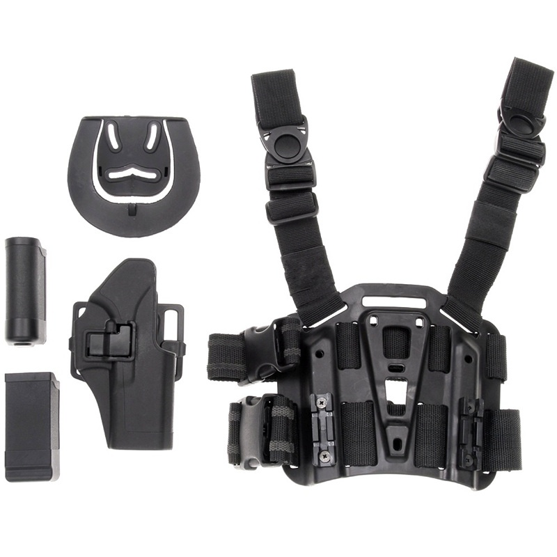 CQC Glock 17 18 19 26 Right Leg Gun Holster Military Airsoft Tactical Pistol Holster With Flashlight Pouch Mag Pouch image